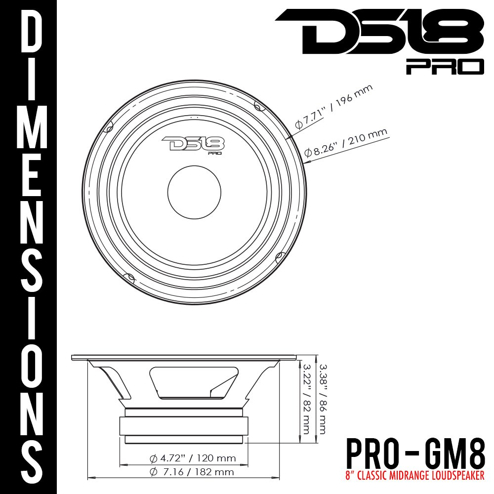 8 Ohms 140W RMS DS18 PRO-GM6SE Loudspeaker 1 Speaker Midrange Sealed Back 480W Max 6.5 Automotive Dummy vendor code for NIS Premium Quality Audio Door Speakers for Car or Truck Stereo Sound System DS18Sound