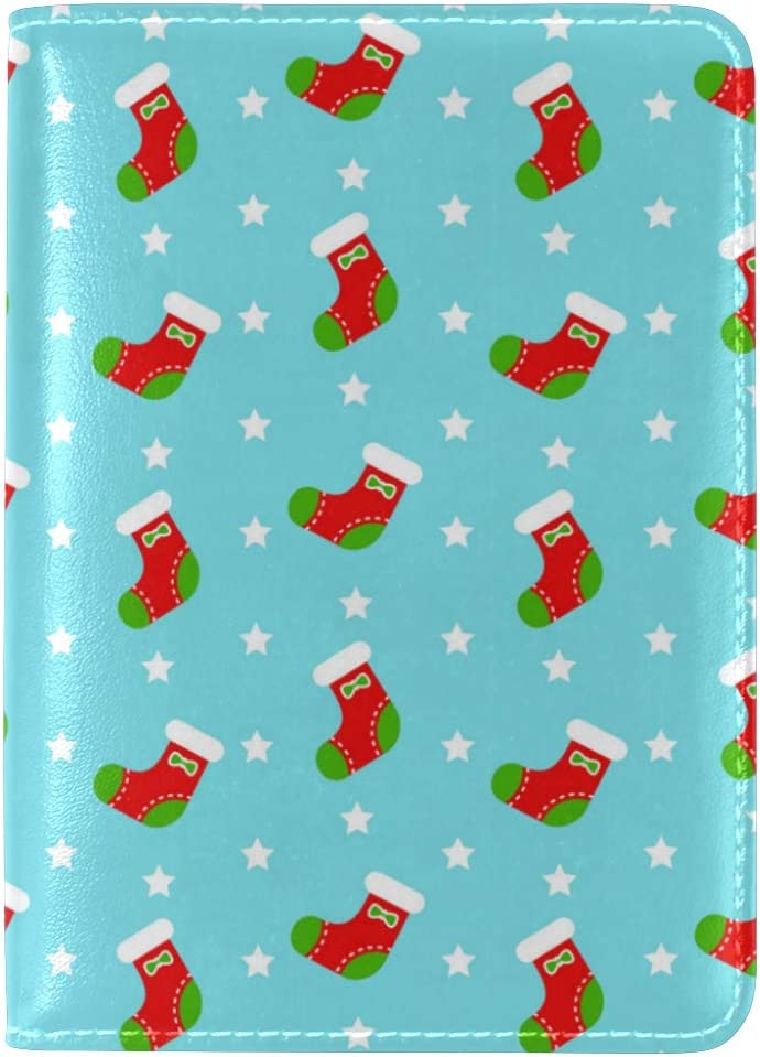 Green Red Santa Claus Leather Passport Wallet for Passport Holder for Safe Trip durable Easy to Carry