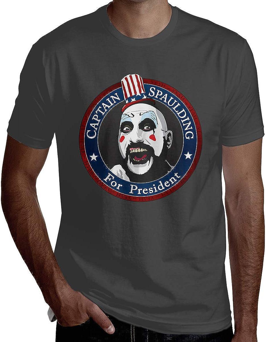EKRBYB Mens Breathable Tops Captain Spaulding for President Rob Zombie T Shirt Black