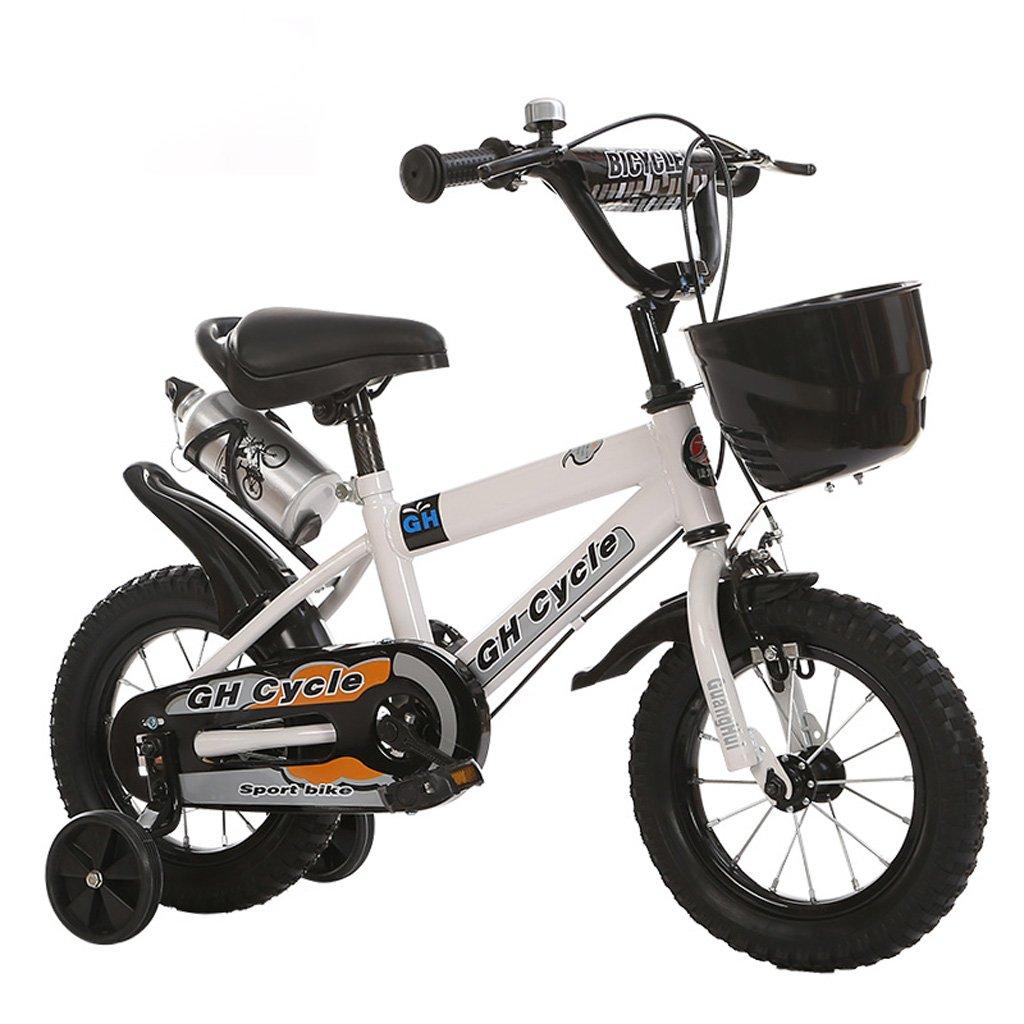 子供の自転車6-9歳の子供の自転車高炭素スチールの赤ちゃんキャリッジ18インチの男性と女性の自転車、白/青/黄 (Color : White) B07CWMNYGF