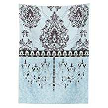 Elegant Tablecloth Vintage Invitation Card with Black Flowers Leaves Ribbon and Chandelier Print Dining Room Kitchen Rectangular Table Cover Light Blue Black