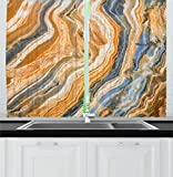 Ambesonne Marble Kitchen Curtains, Colorful Rock Quartz Surface Background Formation Abstract Picture, Window Drapes 2 Panel Set for Kitchen Cafe, 55 W X 39 L Inches, Slate Blue Orange Apricot Review