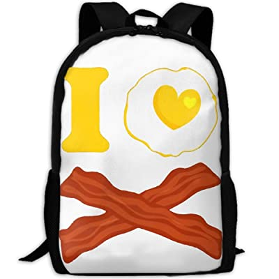 ZQBAAD I Love Bacon And Eggs Luxury Print Men And Women's Travel Knapsack