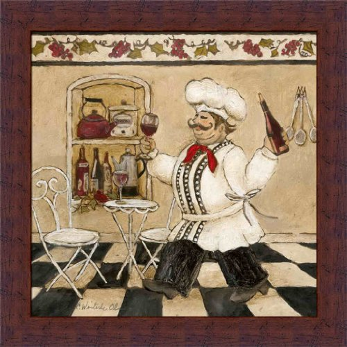 Top Chef II by Charlene Olson Italian Chef Kitchen Decor 14x14 Framed Art Print Picture Wall Decor (Chef And Wine Decor)