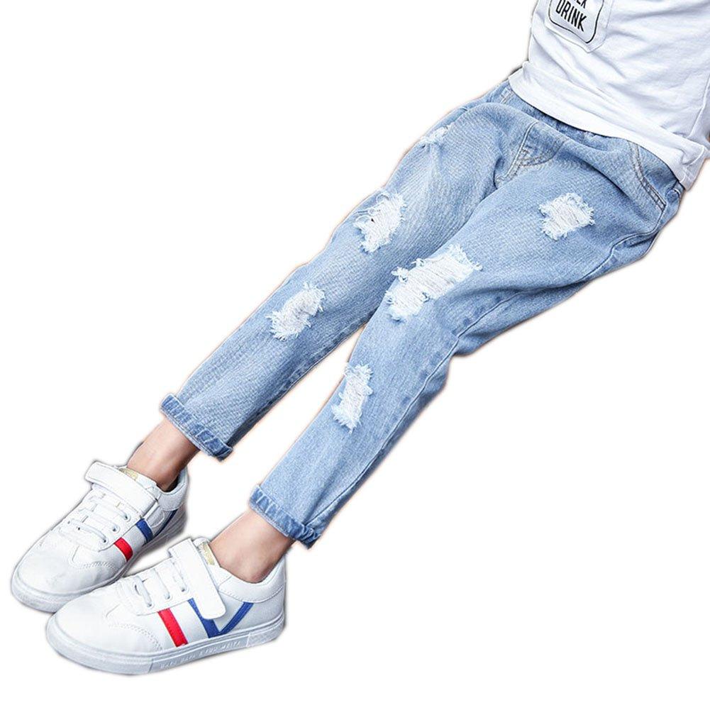 Sitmptol Big Girls Distressed Ripped Hole Jeans Fashion Soft Denim Pants Light Blue 140