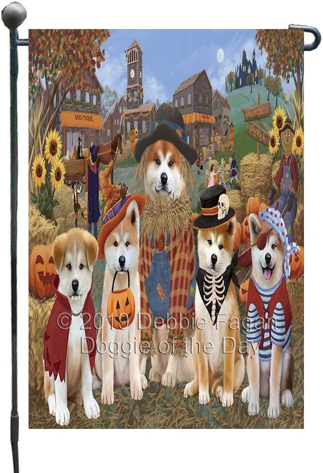 Halloween 'Round Town and Fall Pumpkin Scarecrow Both Akita Dogs Garden Flag GFLG65558