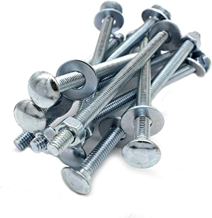 1//4-20 x 3 Long Square-Neck Carriage Bolts Set w//Nuts /& Washers,Zinc-Plated,Carbon Steel Grade 2,by Fullerkreg 10 pc