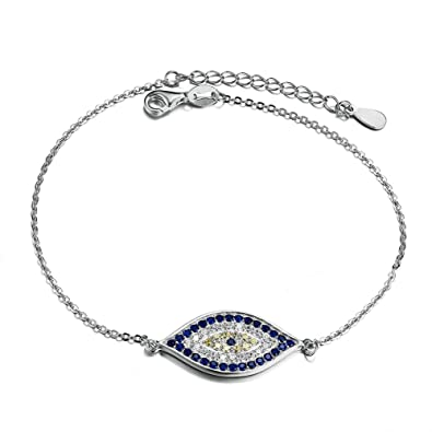 6bb522205f888d Image Unavailable. Image not available for. Color: Blue Evil Eye Link  Bracelet in Sterling Silver 925 With Cubic Zirconia CZ ...