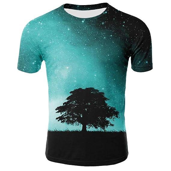 Mens Summer Casual 3D Printing Elastic Short Sleeve T-Shirt Blouse Tops