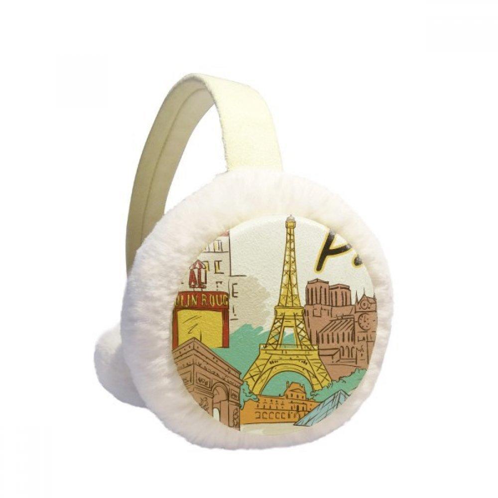 Castle Paris France Eiffel Tower Winter Earmuffs Ear Warmers Faux Fur Foldable Plush Outdoor Gift
