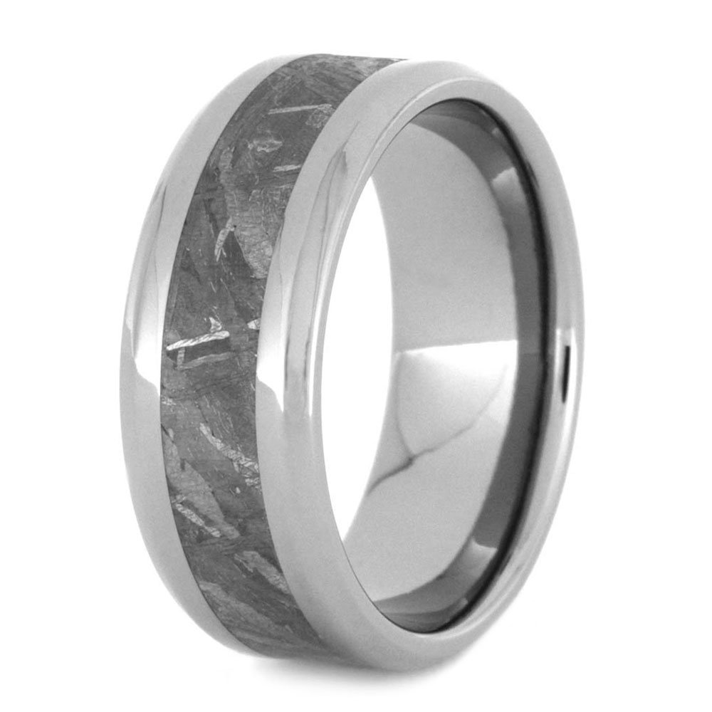Gibeon Meteorite In Beveled 8MM Comfort-Fit Titanium Band, Size 10.75 by The Men's Jewelry Store (Unisex Jewelry)