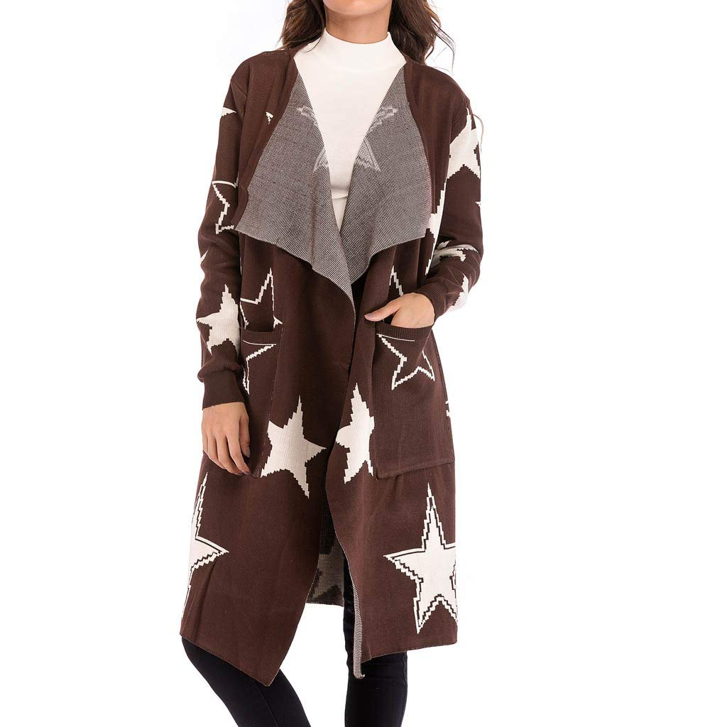 Women's Long Sleeve Soft Chunky Knit Sweater Open Front Cardigan Star Print Coat Outwear with Pockets Brown by ModaParis