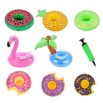 Soporte hinchable para bebidas, diseño de palmera, flamenco, donut, piña, sandía, limón, posavasos flotante para piscina: Amazon.es: Deportes y aire libre