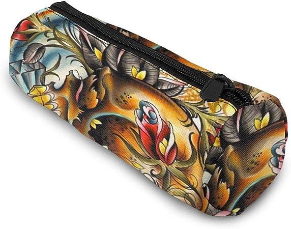 Estuche cilíndrico para lápices/bolígrafos con cremallera, diseño de calavera y rosas de arcoíris: Amazon.es: Hogar