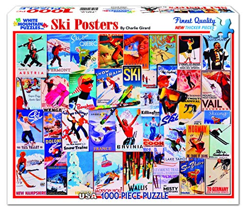 White Mountain Puzzles Ski Posters - 1000 Piece Jigsaw Puzzle