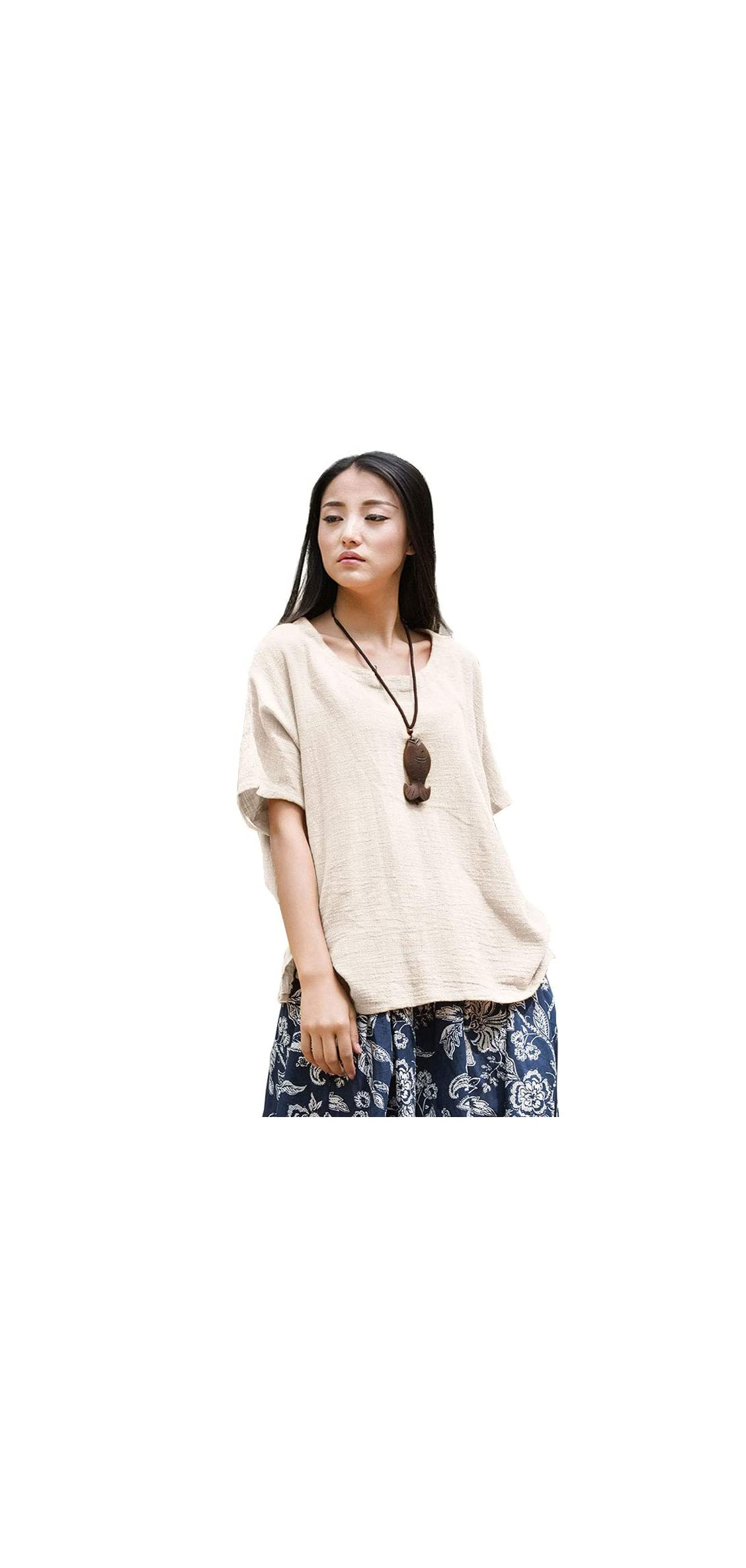 Women's Casual Loose Short Sleeve Round Collar Cotton