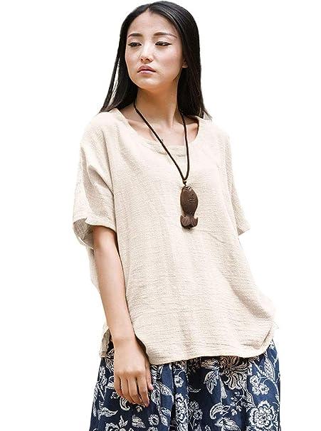 2e4a6f4a7ea4 Soojun Women's Casual Loose Short Sleeve Round Collar Cotton Linen Shirt  Blouse Tops, Style 1