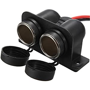 BREADEEP Cigarette Lighter Socket 12V Waterproof Dual Power Plug Outlet with Wire for Car Motorcycle Scooter Boat ATV Rv