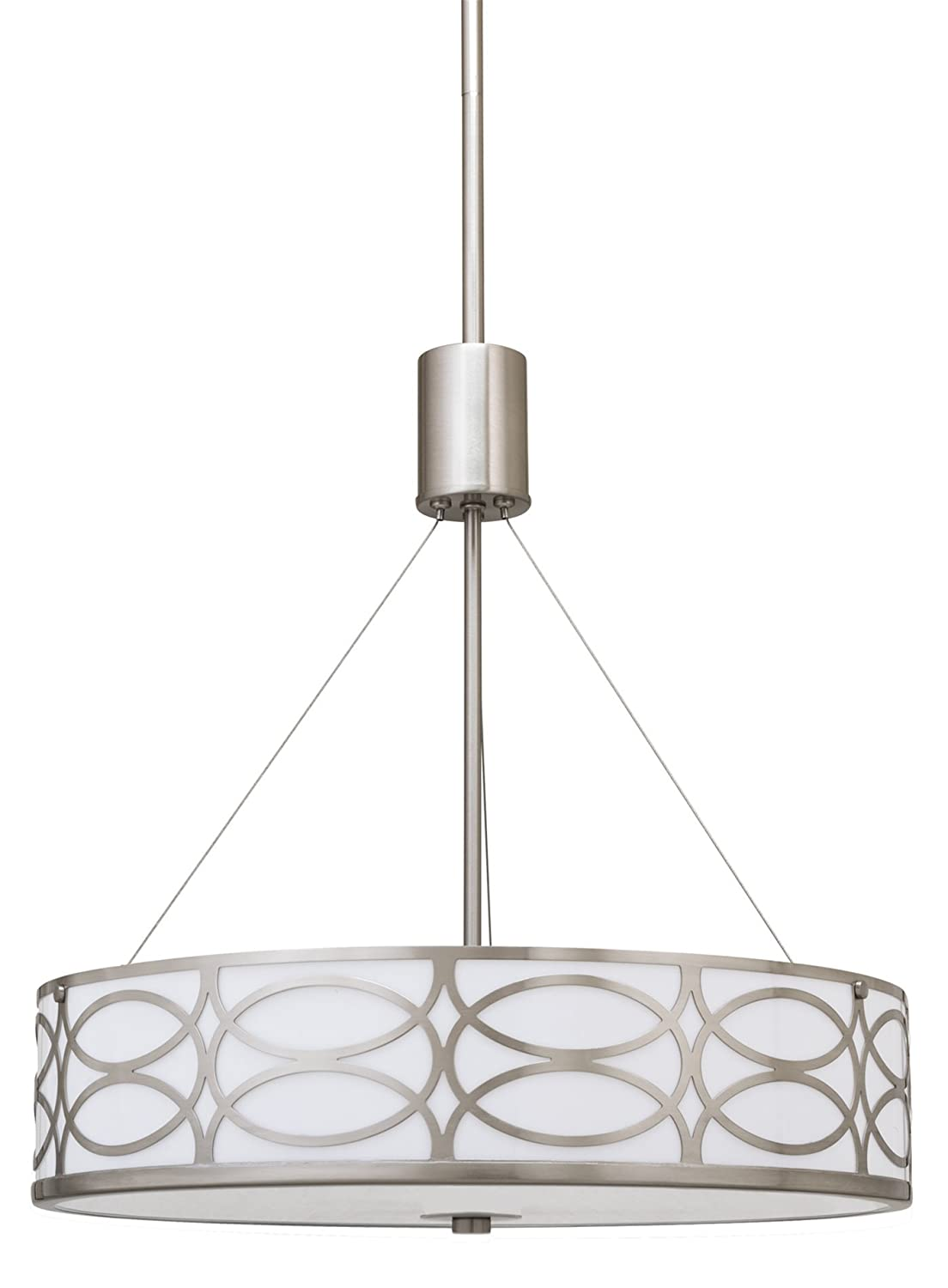 Kira Home Sienna 18 3-Light Metal Drum Chandelier Glass Diffuser, Brushed Nickel Finish