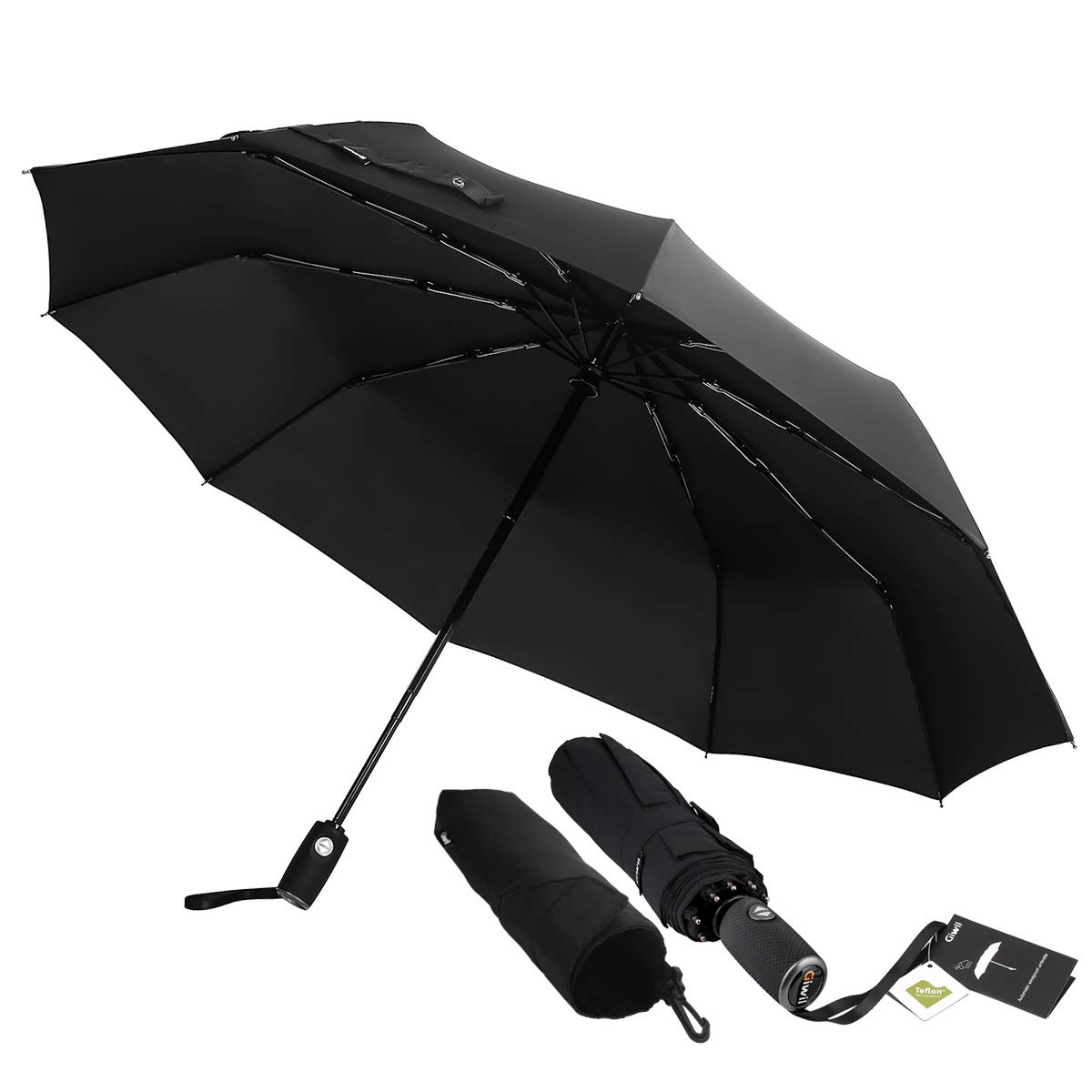 Automatic 10 Ribs Travel Umbrella Windproof - Giwil Folding Umbrella with 210t Fabric Teflon, One Hand Operation, Lightweight and Compact, Fast Drying, for Men, 42inch 16.6OZ Black LTD 600040