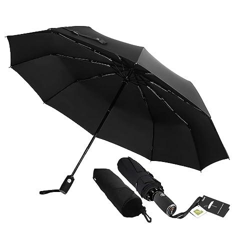 Paraguas Giwil de viaje de secado rápido, marco reforzado resistente al viento, se abre
