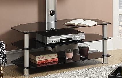 Amazon Com Poundex Pdex F4300 Modern Black Glass Tv Stand With 2