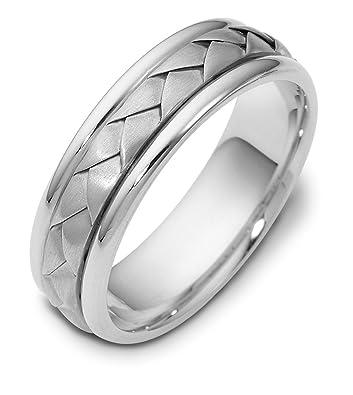 Mens 18K White Gold, Wide Braid 6.5MM Wedding Band   Amazon.com