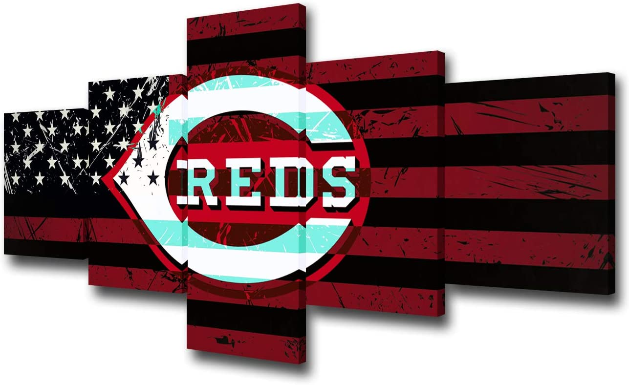 Cincinnati Reds Logo Wall Picture for Living Room American Sports Painting Printed on Canvas Major League Baseball Team Poster Home Decoration Artwork Framed 5 Panel Ready to Hang(50Wx24H inches)