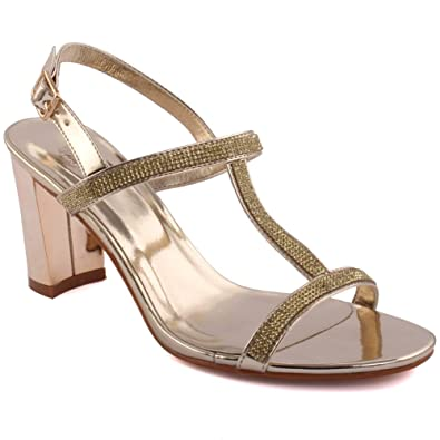 772c816eaee5 Unze Women  Daina  T-Strap Glitter Detail Low Mid High Flared Block Heel  Party Prom Get Together Brunch Carnival Wedding Evening Sandals Heels Shoes  UK Size ...