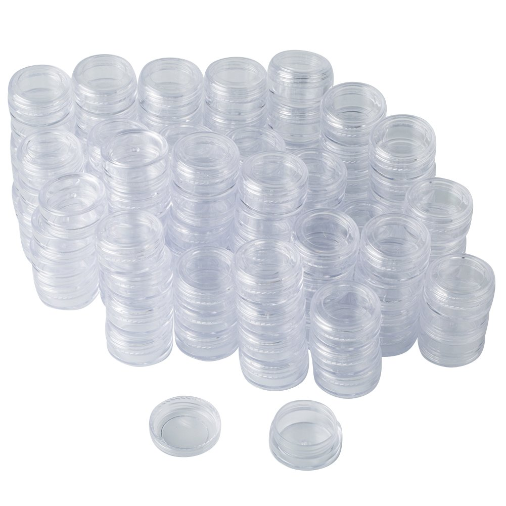 Bekith 108 set Clear Empty 3 Gram/ 3ML Plastic Pot Jars, Cosmetic Containers With Lids