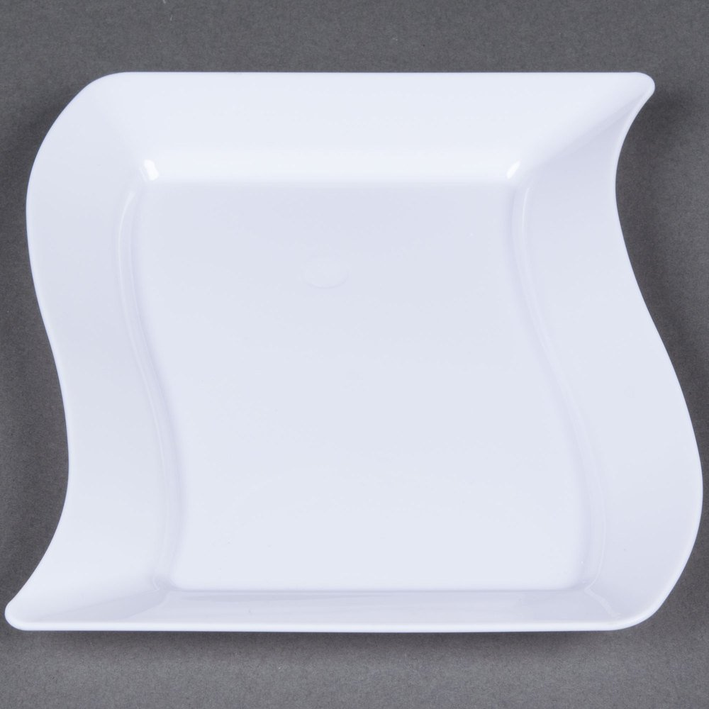 Lovely Large Wavy Rectangle Premium Plate Party Tableware and Reusable Dishware, White, 7'' x 12'', Pack of 10.