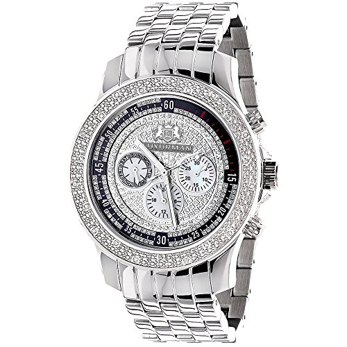 LUXURMAN Diamond Watches For Men: Genuine Diamonds Raptor Mens Watch Stainless Steel Case 0.25ct