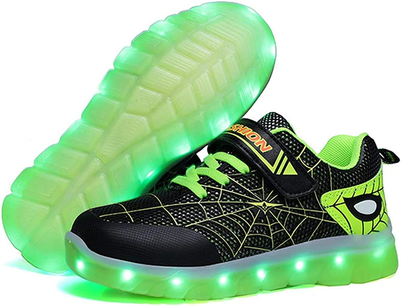 Kids LED Light Up Shoes Rechargeable Luminous Sneakers Trainers for Boys Girls New Spiderman