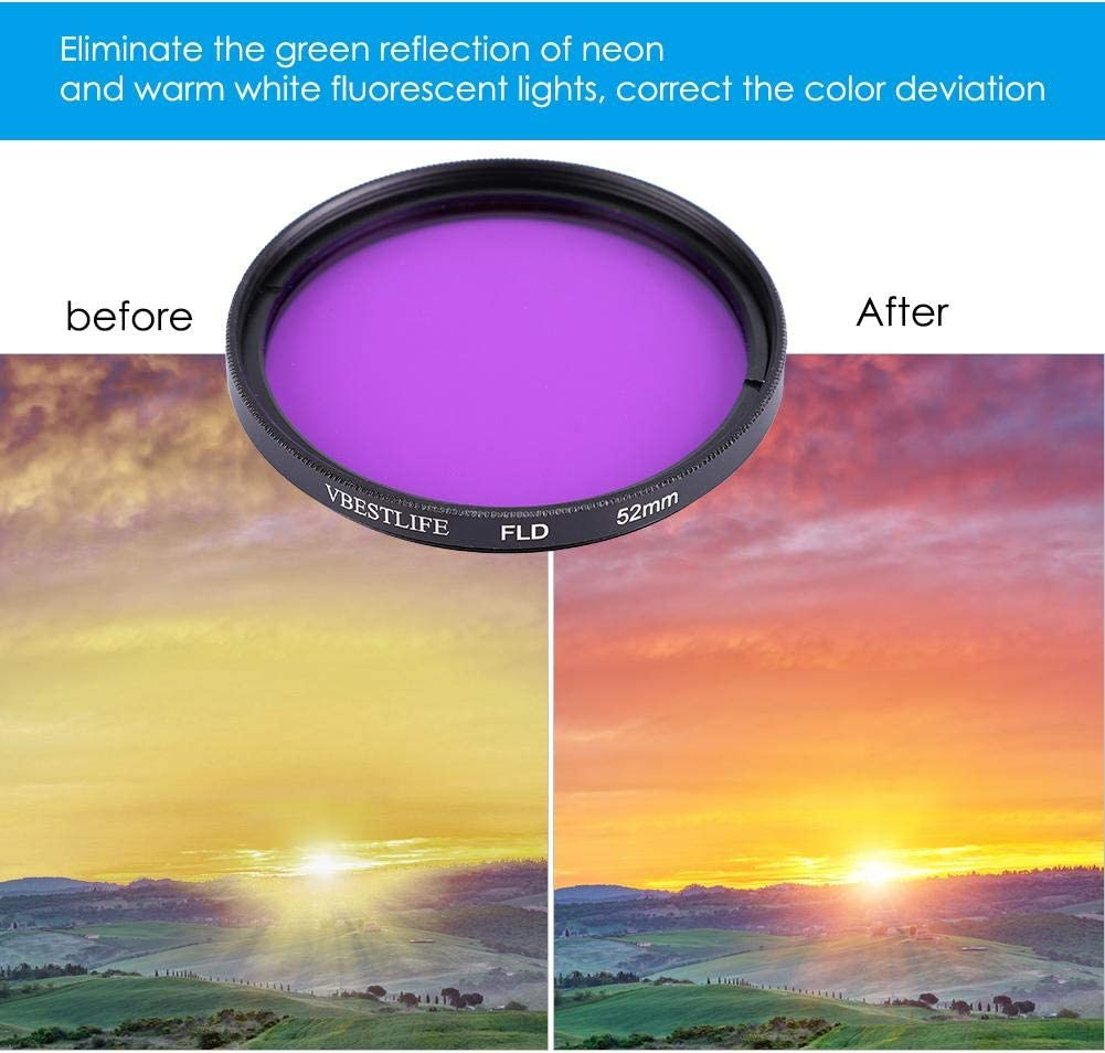 Serounder Mini DSLR//SLR Camera FLD Lens Filter,Professional Durable Eliminating Green Reflection LED Fluoroscopy Lens Filter for Canon Nikon Sony 58mm
