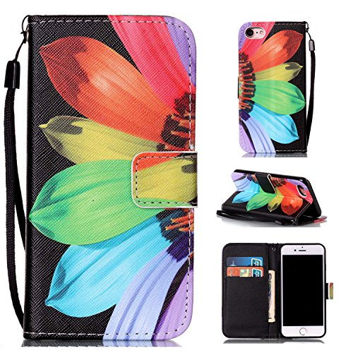 iPhone 7 Case,Beimu Shockproof [Card Slots] [Wristlet Strap] [Money Pocket] Stand Feature PU Leather Flip Wallet Case with ID&Credit Card Holder for iPhone 7 4.7inch