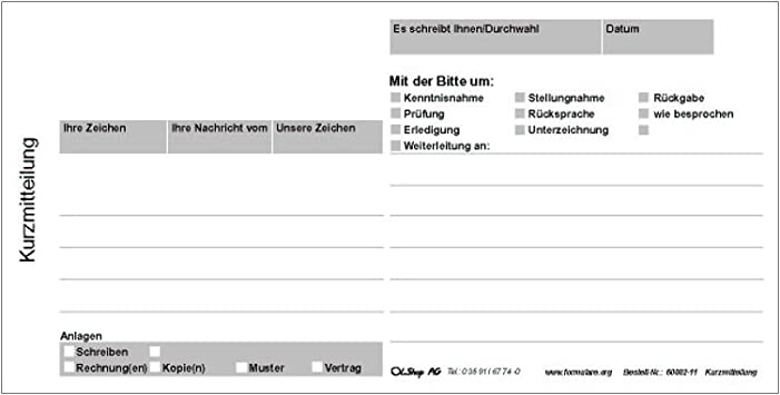 Kurzbrief Vorlage Kurzmitteilung Ch Musterbrief Download 7