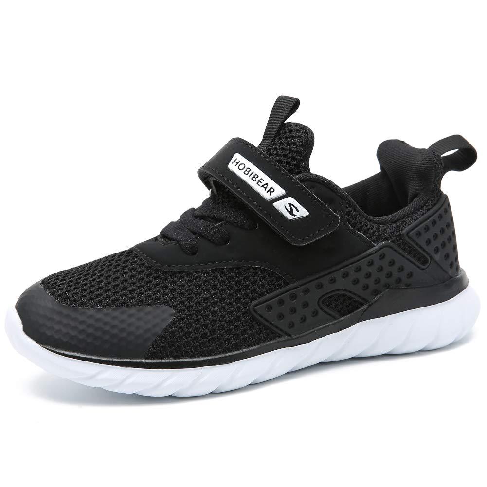 GUBARUN Kids Running Shoes Boys and Girls Lightweight Comfortable Walking Sneakers(2, Black)