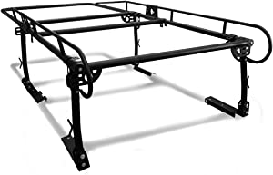 Universal Adjustable 132 inches X 57 inches Steel Pickup Truck Ladder Rack (Black)
