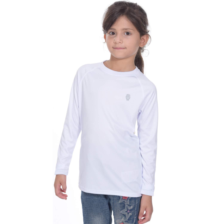 Youth Basic Skins UPF 50+ Long Sleeve Rash Guard Outdoor Sun Shirt White XL by PIQIDIG