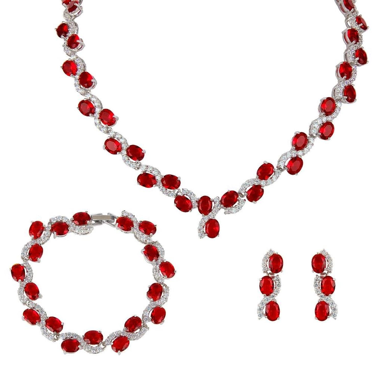 EVER FAITH Silver-Tone Zircon Wedding S-Shaped Necklace Earrings Bracelet Set Ruby-Color