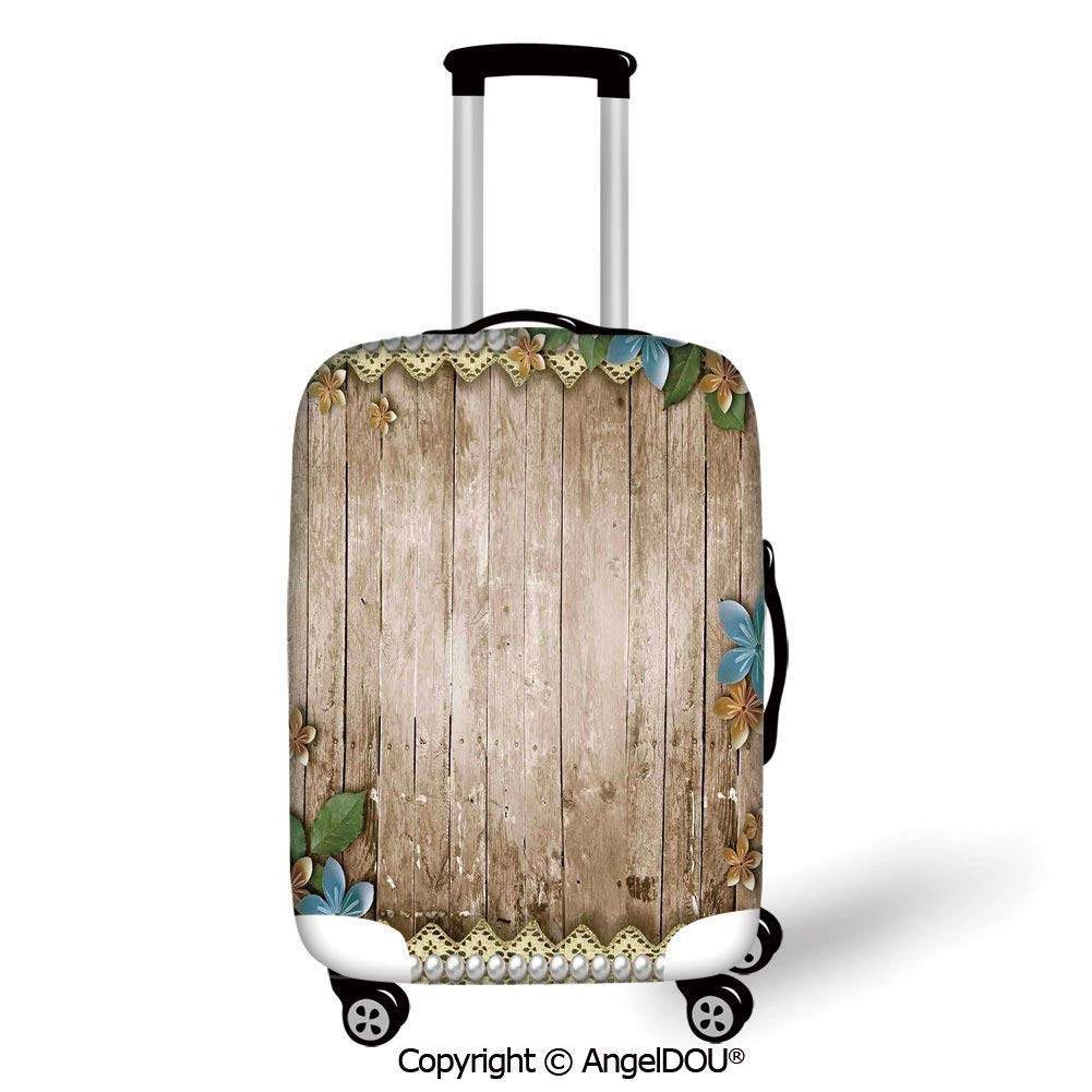 AngelDOU Fashion Elastic Fabric Luggage Protective Cover Ikat Peacock Tail Pattern inColors Ornate Circular Oval Motifs Abstract Cream Vermilion Black Suitable18-28 Inch Trolley Case Suitcas