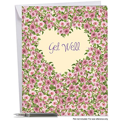 Get Cards Well Wishes (Big Get Well Soon Wishes Greeting Card (with Envelope) -Heartfelt Thanks w/Roses & Flowers - Jumbo Feel Better Cards for Friend, Coworker Or Loved One Gift (8.5