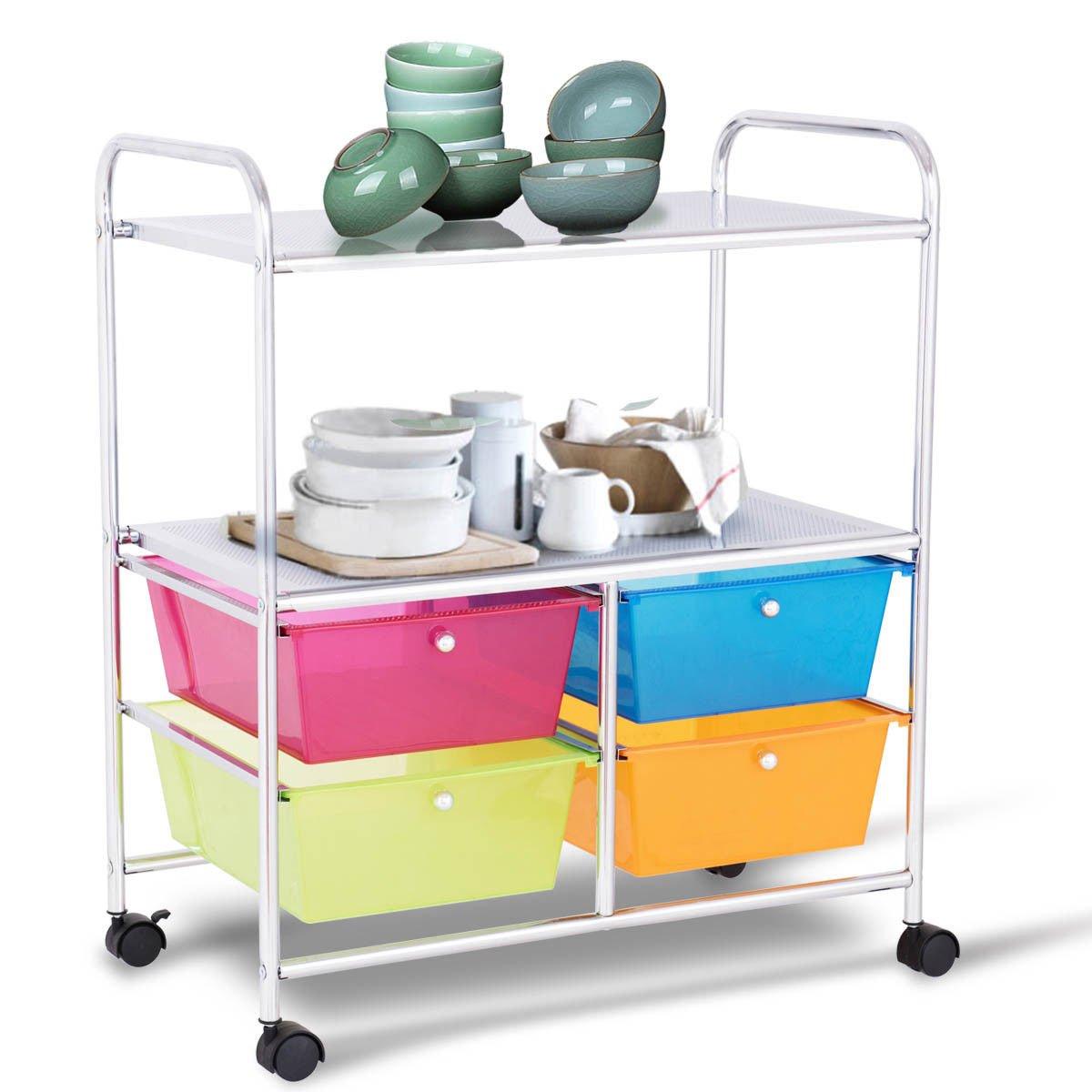 Giantex Rolling Storage Cart w/ 4 Drawers 2 Shelves Metal Rack Shelf Home Office School Beauty Salon Utility Organizer Cart with Wheels (Blue Green Orange & Red) by Giantex (Image #4)