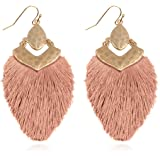 Statement Raffia Earrings Lightweight Hammered Raffia Fan Earrings Handmade Colorful Raffia Tassel Drop Earrings Gift for Women Girls