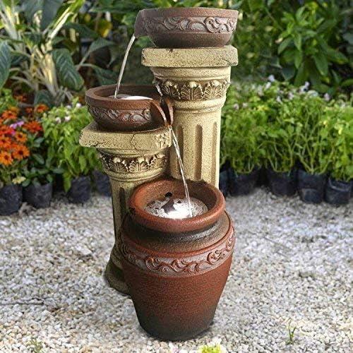 Fuente Solar Salto Fuente Solar Toscana Jardín Fuente Cascada Set Completo para jardín y terraza DÍA Y NOCHE! ✓ NUEVO: Amazon.es: Jardín