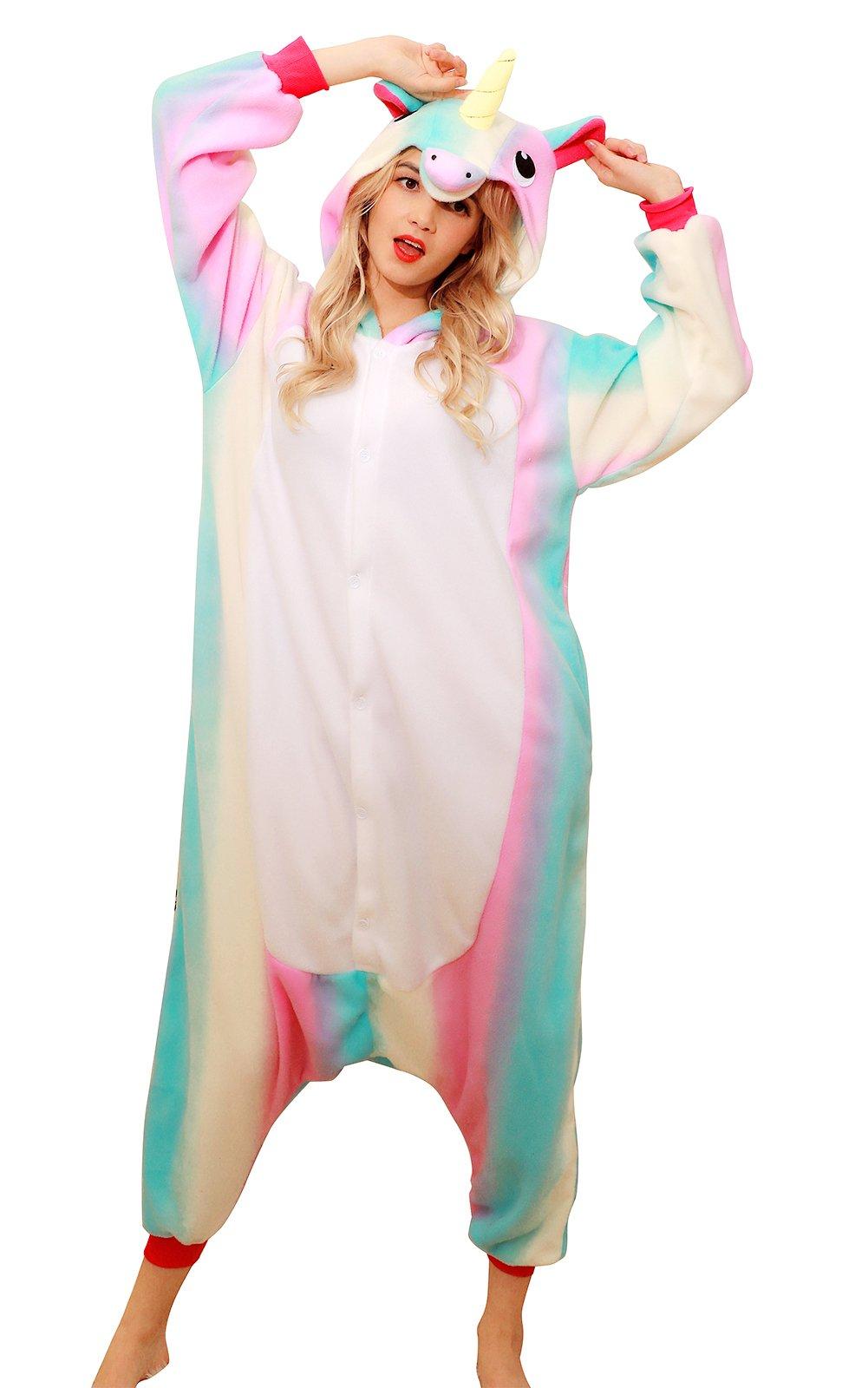 PECHASE Halloween Adult Pajamas Sleepwear Animal Cosplay Costume (M, Rainbow Unicorn)