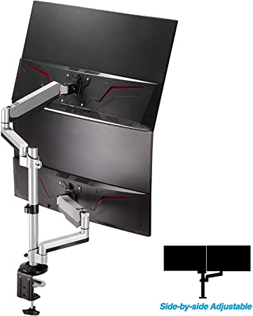 """AVLT-Power Dual 32"""" Monitor Stackable Desk Stand - Mount Two 17.6 lbs Computer Monitors on 2 Full Motion Adjustable Arms - Organize Your Work Surface with Ergonomic Viewing Angle VESA Monitor Mount"""