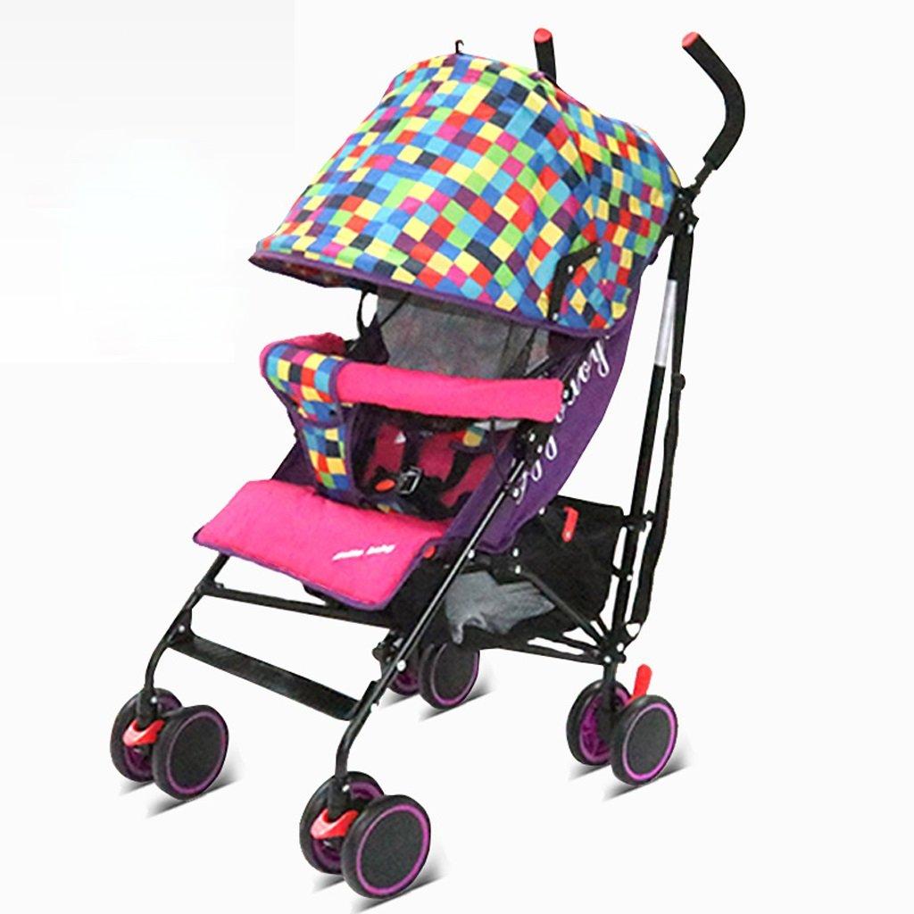 赤ちゃんのベビーカー超軽量ポータブル折りたたみフラットな子供のトロリー座って座って(赤)70 * 49 * 106センチメートル B07BTV7SFF