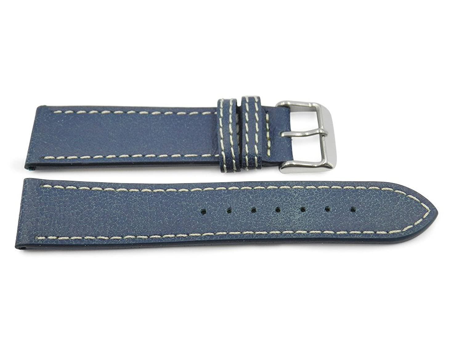 22 mmブルーBomberスタイルレザーバンドwith Heavy S / S Buckle and Doubleコントラストステッチ  B071L26YHP