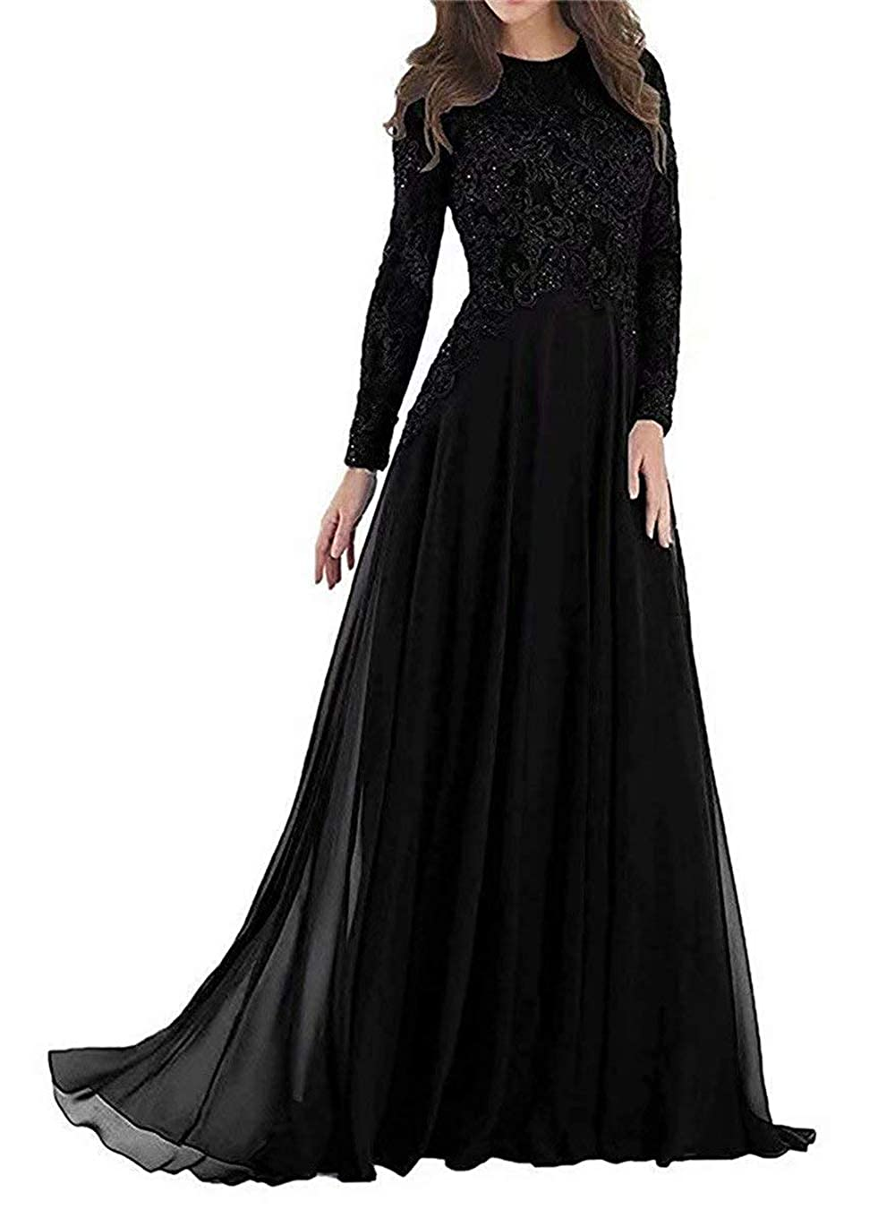 Black Pretygirl Women's Elegant Lace Mother of The Bride Dress Evening Dress Prom Gown for Wedding